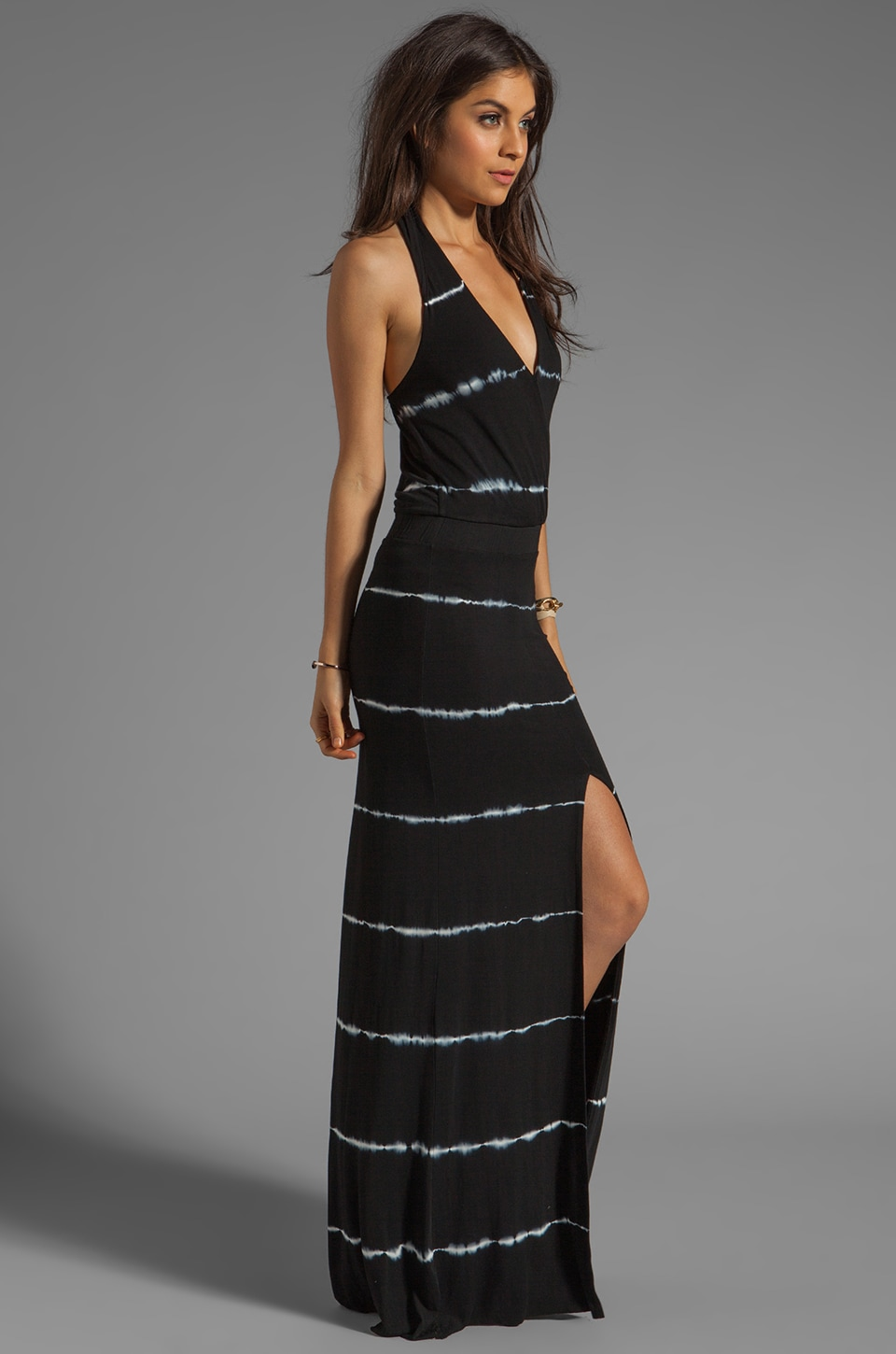 Young, Fabulous & Broke Garnet Maxi in Black Super Skinny Stripe