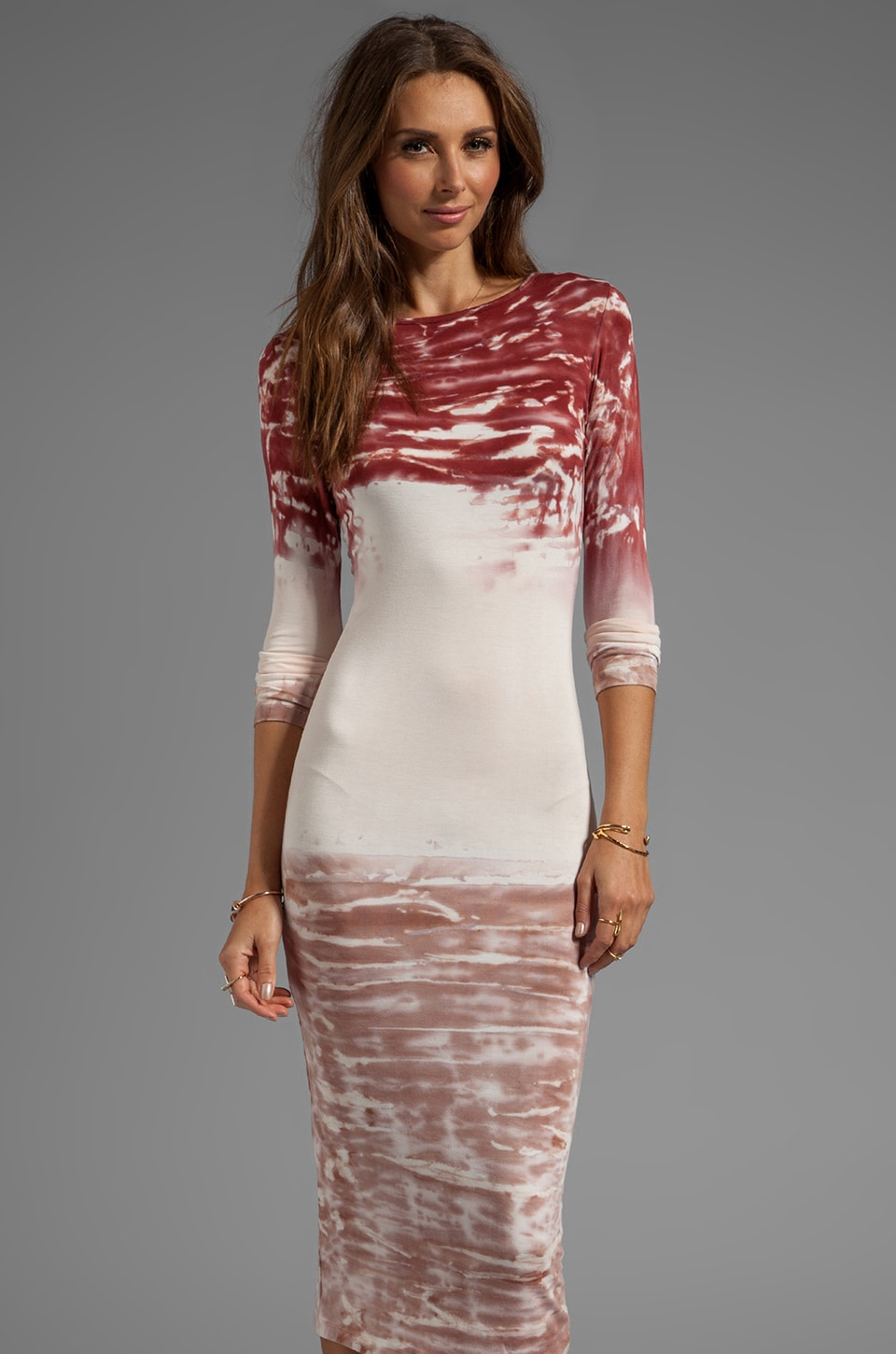 Young, Fabulous & Broke Lulu Watercolor Dress in Brick