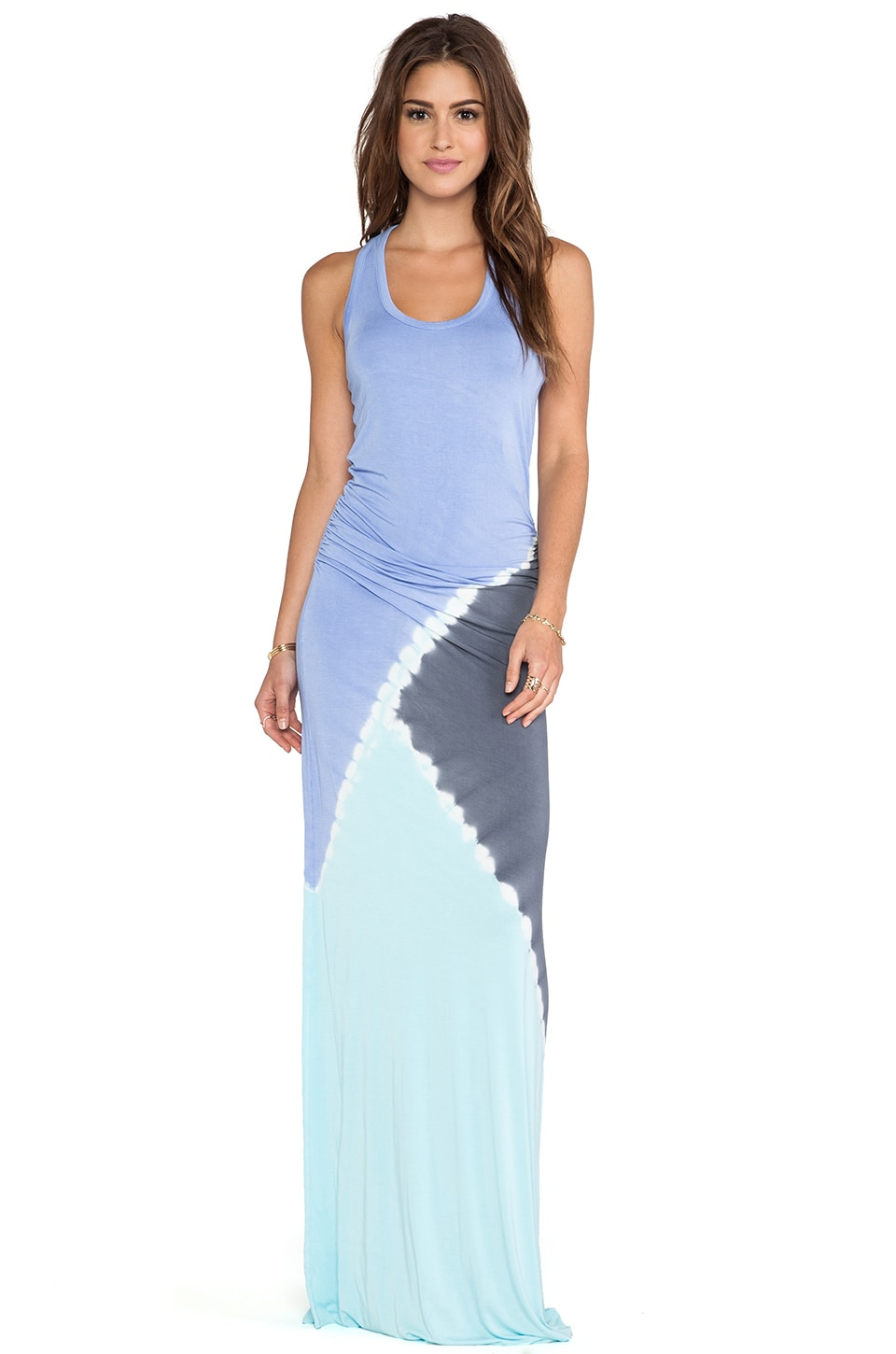 Young, Fabulous & Broke Hamptons Maxi Dress in Aqua & Purple Tri Block