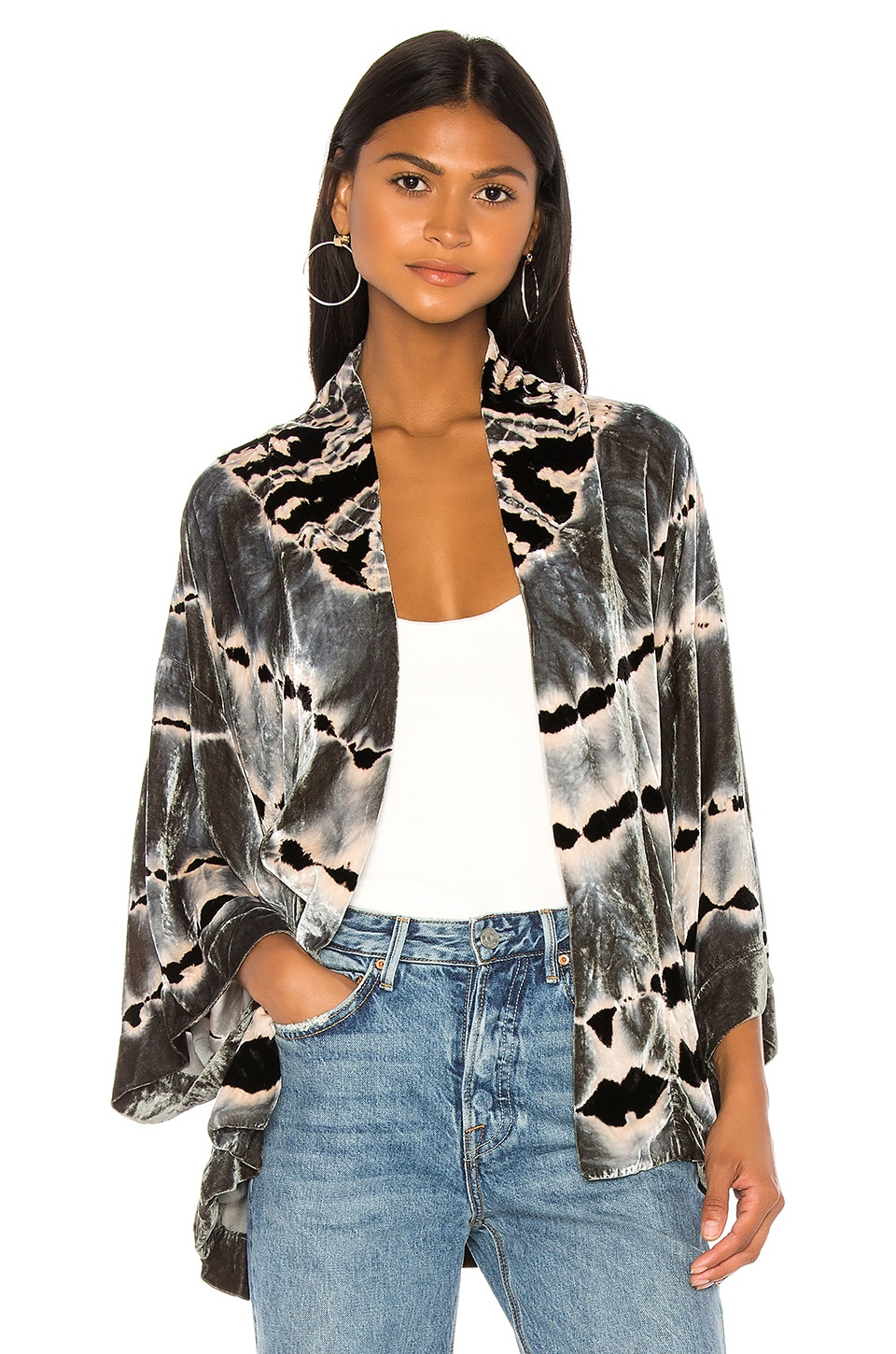 Young, Fabulous & Broke Clark Kimono in Sea Glass Stripe Wash