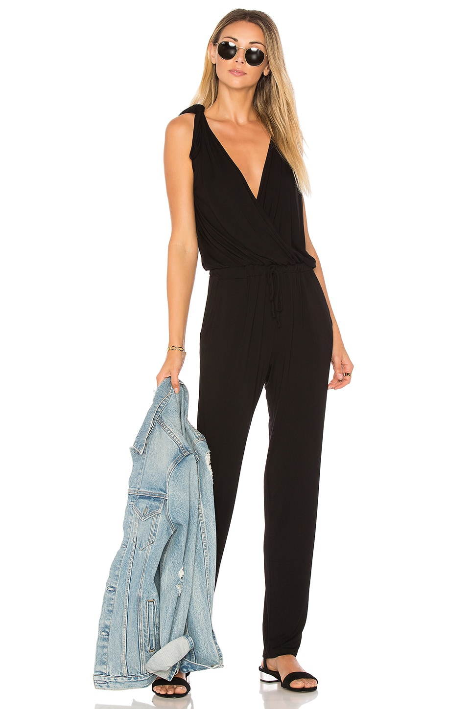 Young, Fabulous & Broke Pam Jumpsuit in Black Solid
