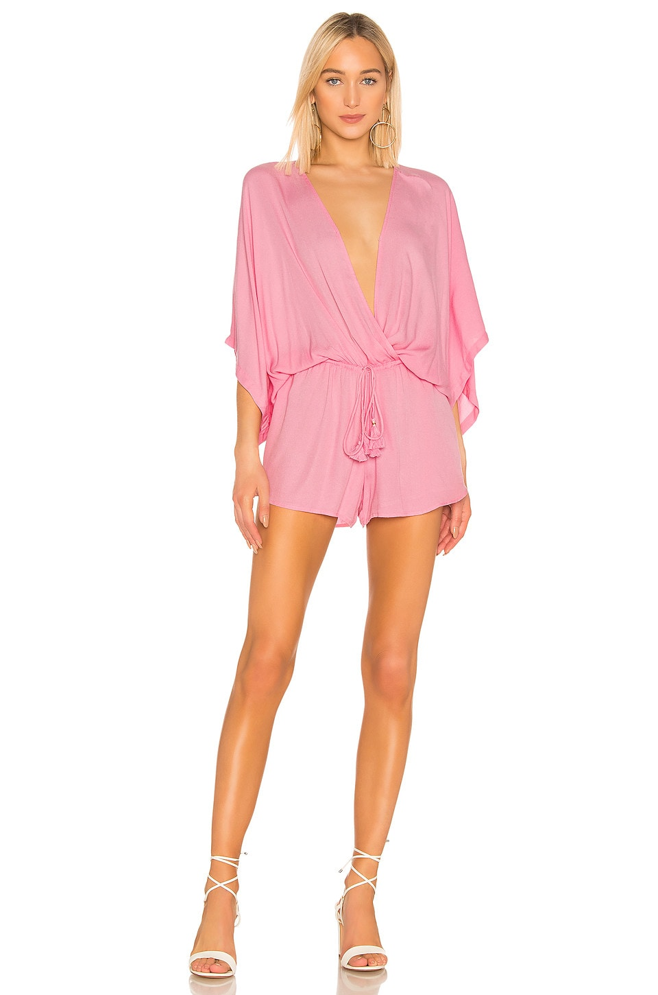 Young, Fabulous & Broke Ashley Romper in Hot Pink