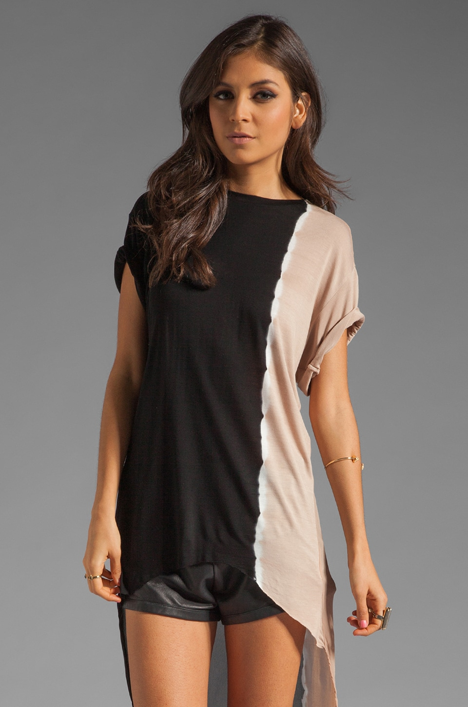 Young, Fabulous & Broke Veda Top in Black Sideways Ombre