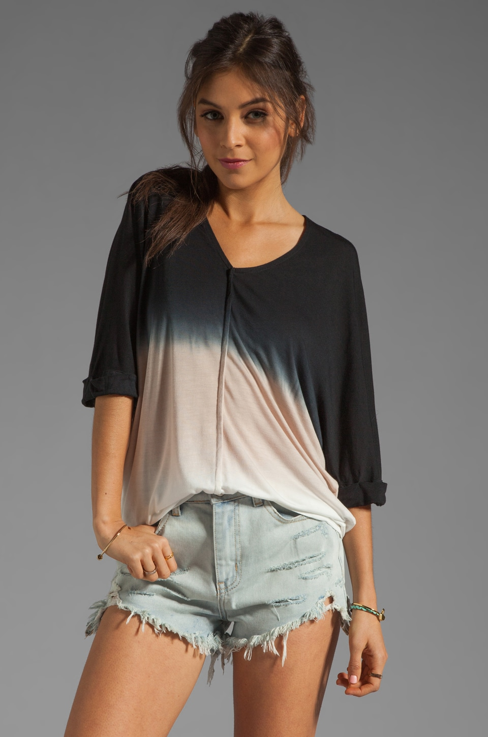 Young, Fabulous & Broke Aleen Top in Black Sunset Ombre
