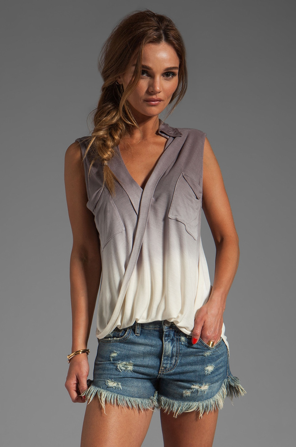Young, Fabulous & Broke Alexis Top in Grey Ombre
