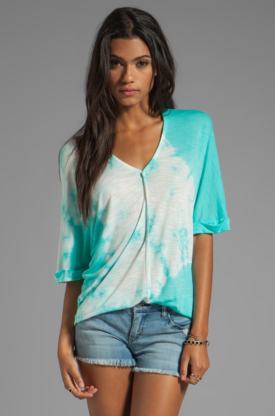 Young, Fabulous & Broke Aleen Eclipse Wash Top in Aqua