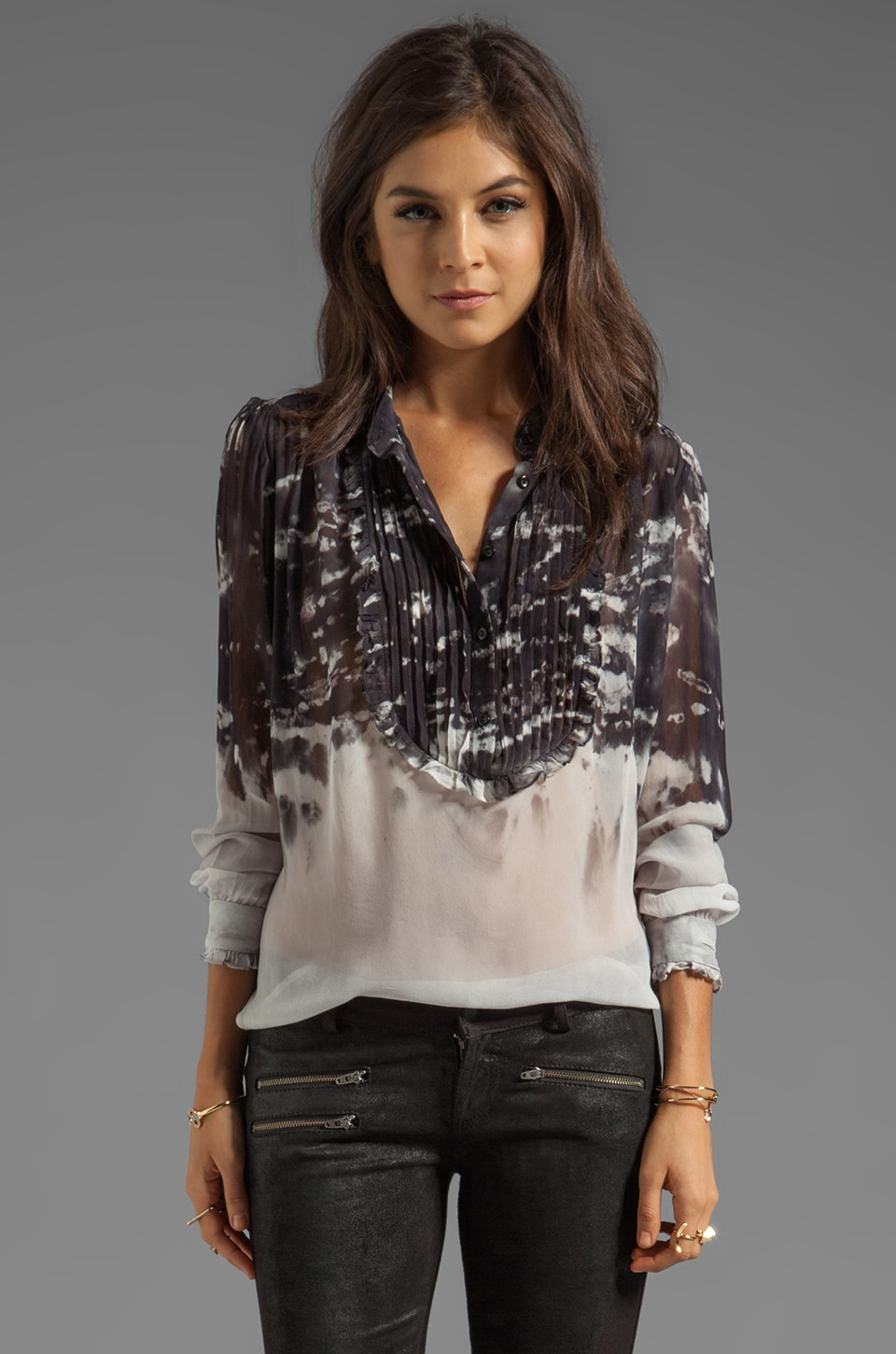 Young, Fabulous & Broke Othello Watercolor Top in Black