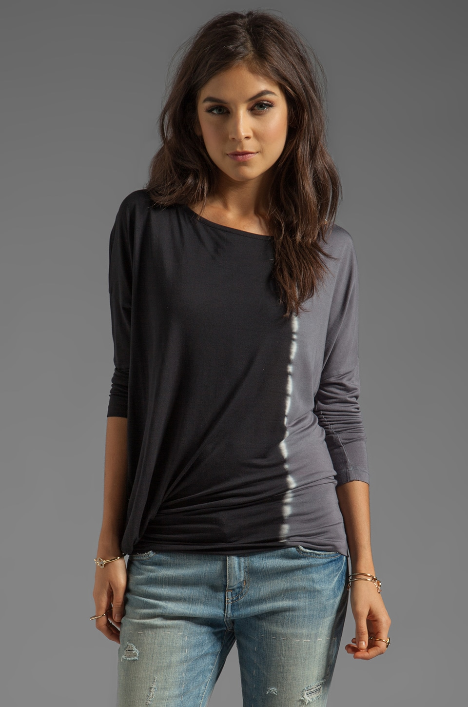 Young, Fabulous & Broke Pippa Side Ombre Top in Black