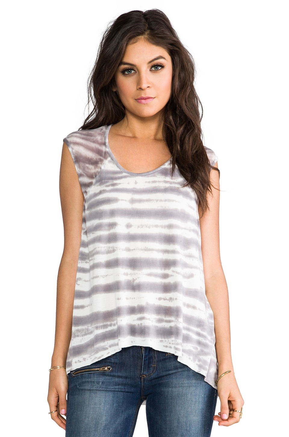 Young, Fabulous & Broke Delainey Sketchy Stripe Top in Grey