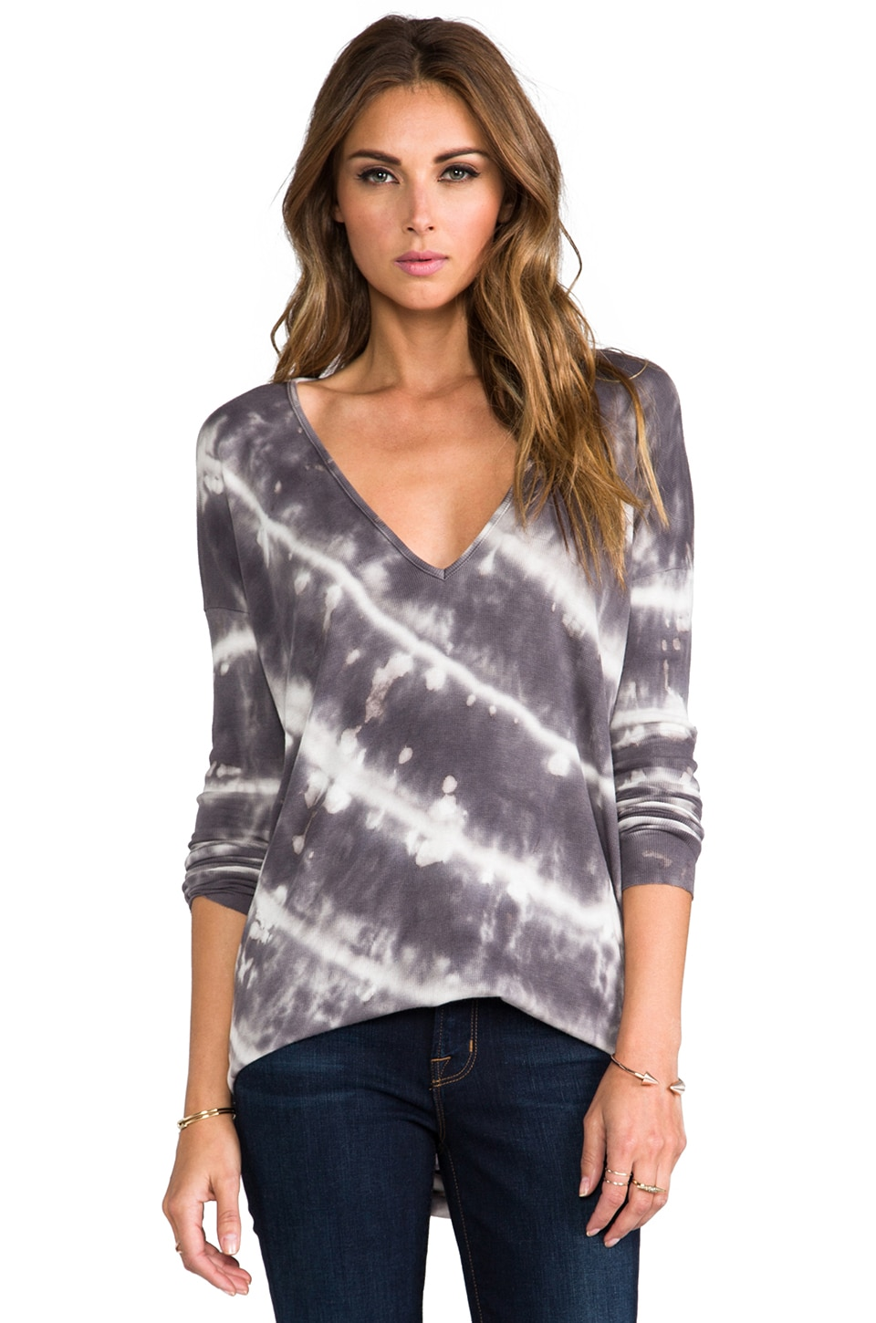 Young, Fabulous & Broke Ada Diagonal Wash Top in Grey