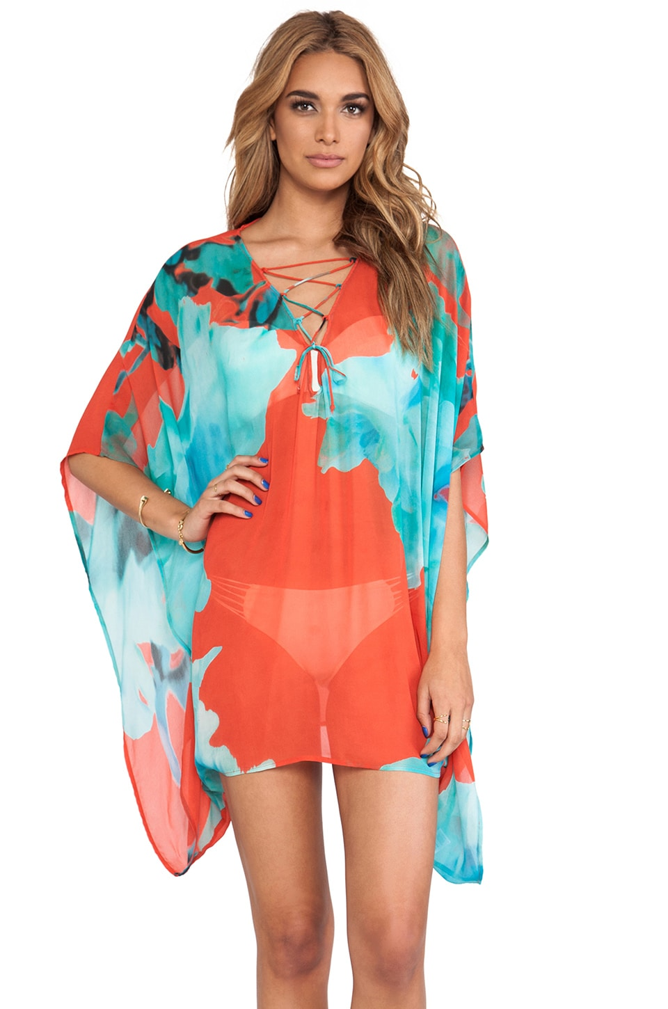Young, Fabulous & Broke Aqua Cover Up in Blue Flower