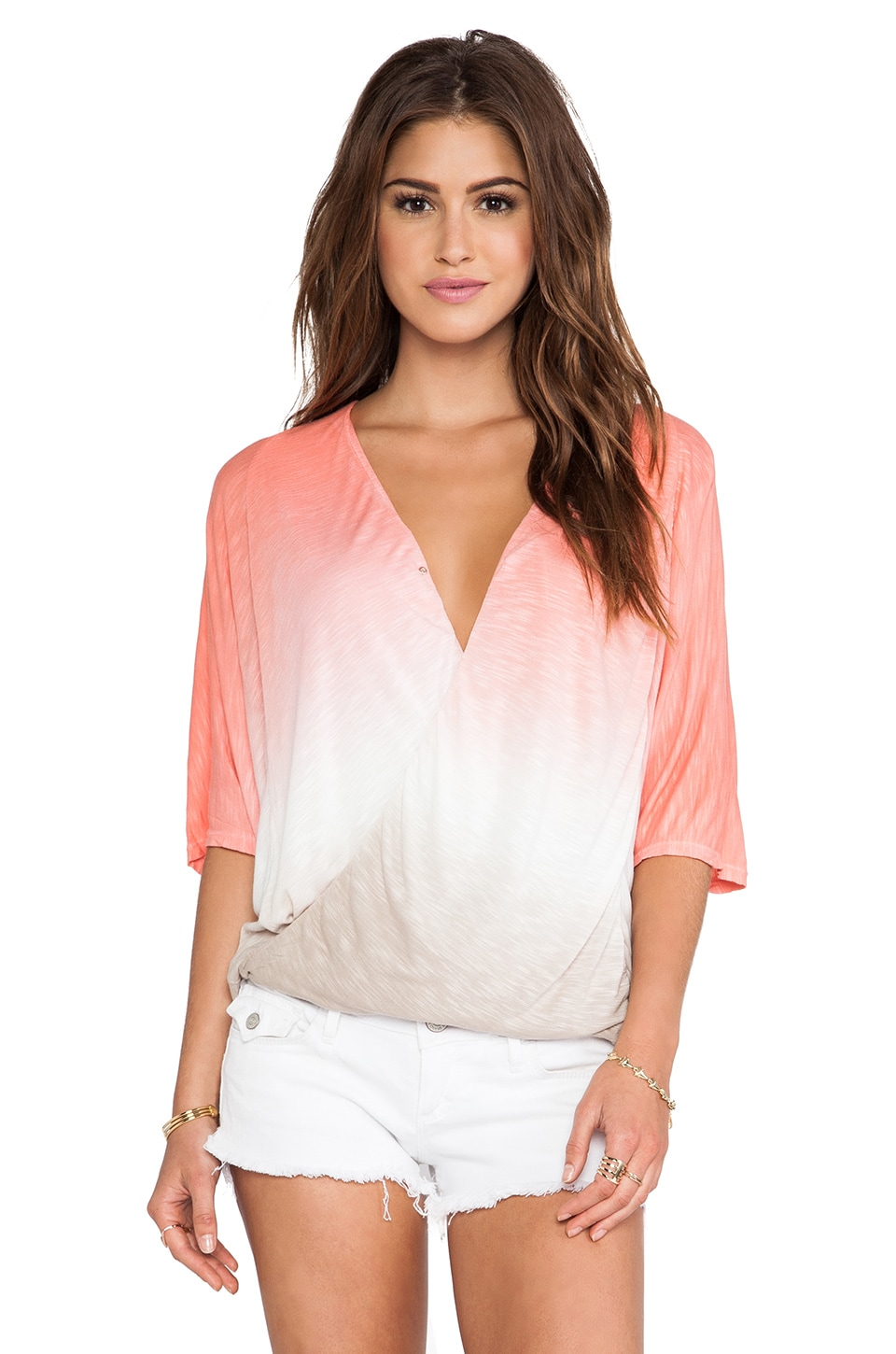 Young, Fabulous & Broke H Top in Coral Ombre