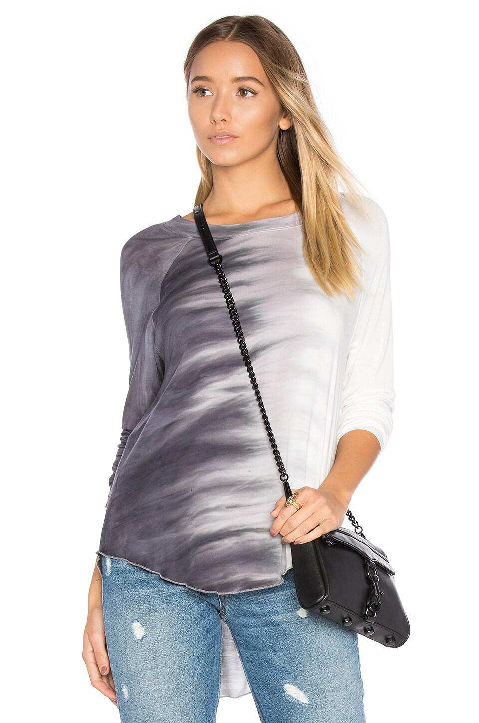 Young, Fabulous & Broke Sparrow Top in Black Side Wash