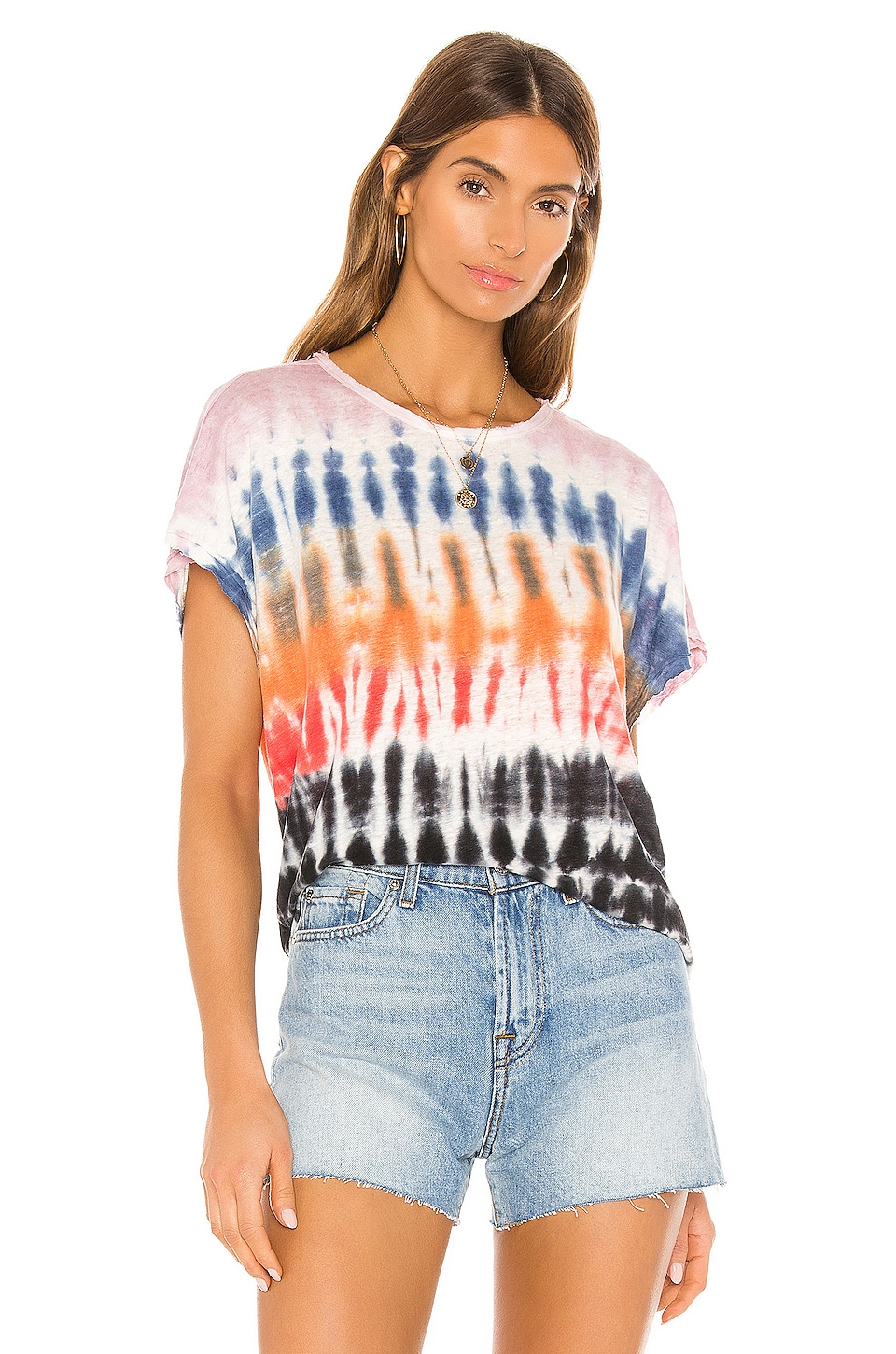 Young, Fabulous & Broke Cleo Tee in Red Rainbow Wash