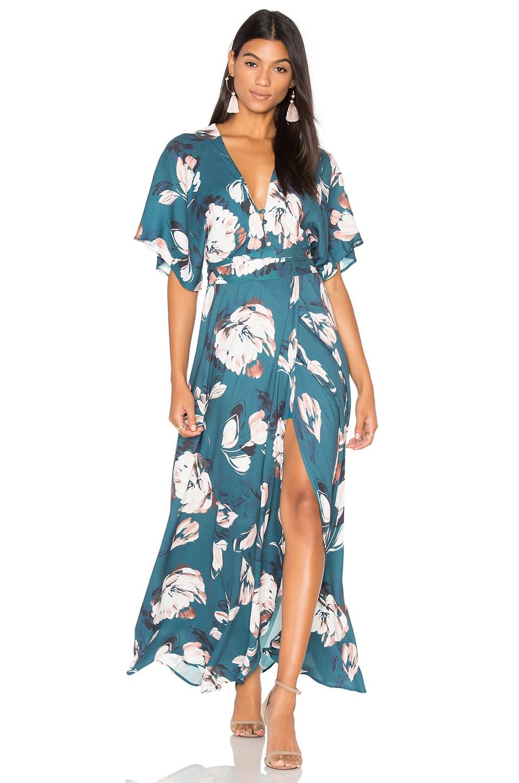 Yumi Kim Kimono Maxi Dress in Blushing Daisy