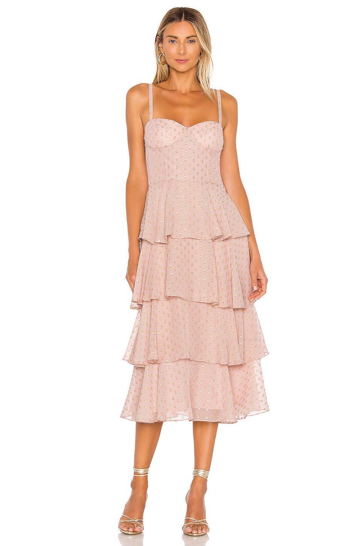 Yumi Kim Gallery Dress in Lurex Blush Swiss Dot