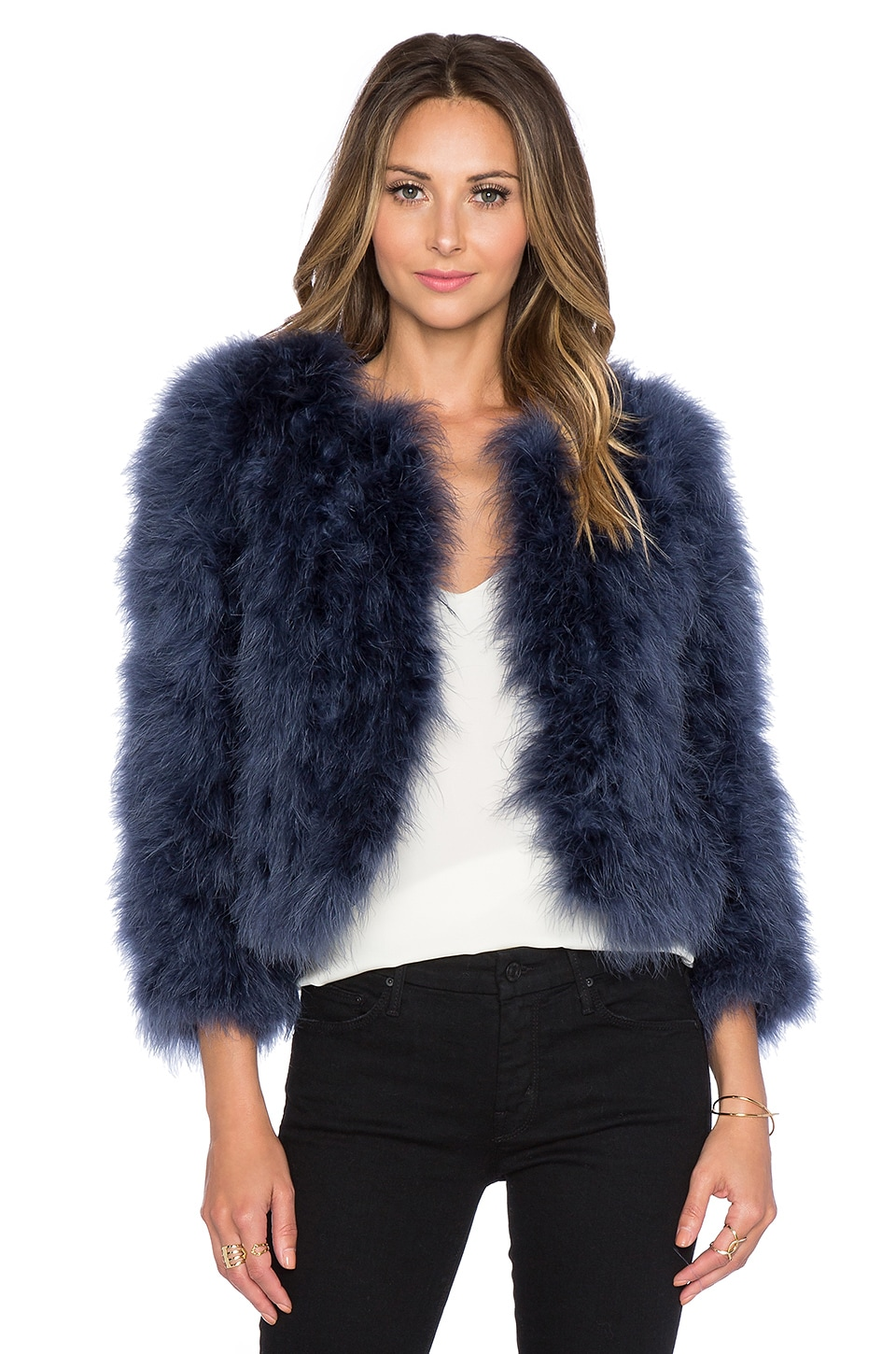 Yumi Kim Away We Go Faux Fur Feather Jacket in Navy