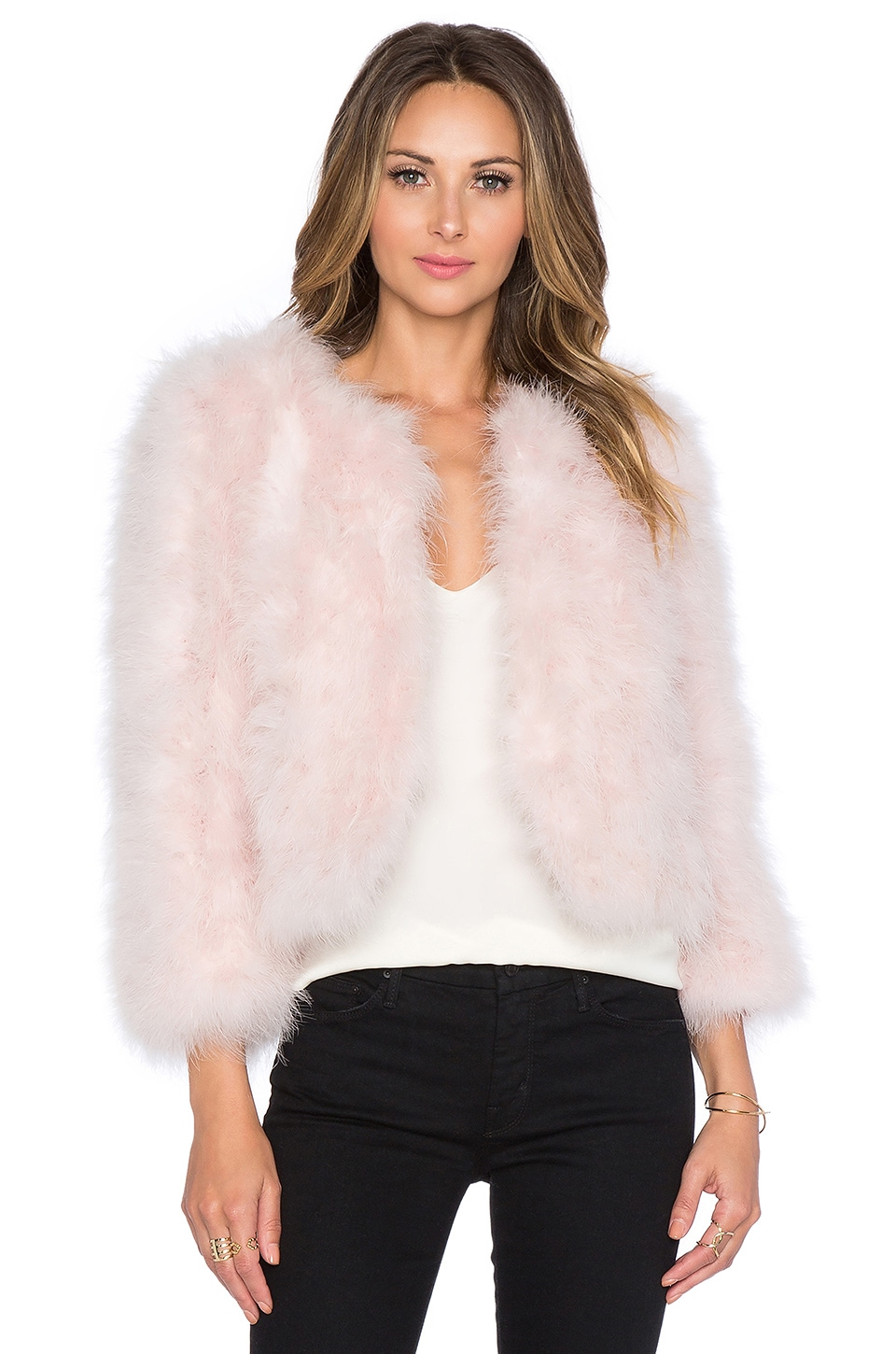 Yumi Kim Away We Go Faux Fur Feather Jacket in Pink | REVOLVE