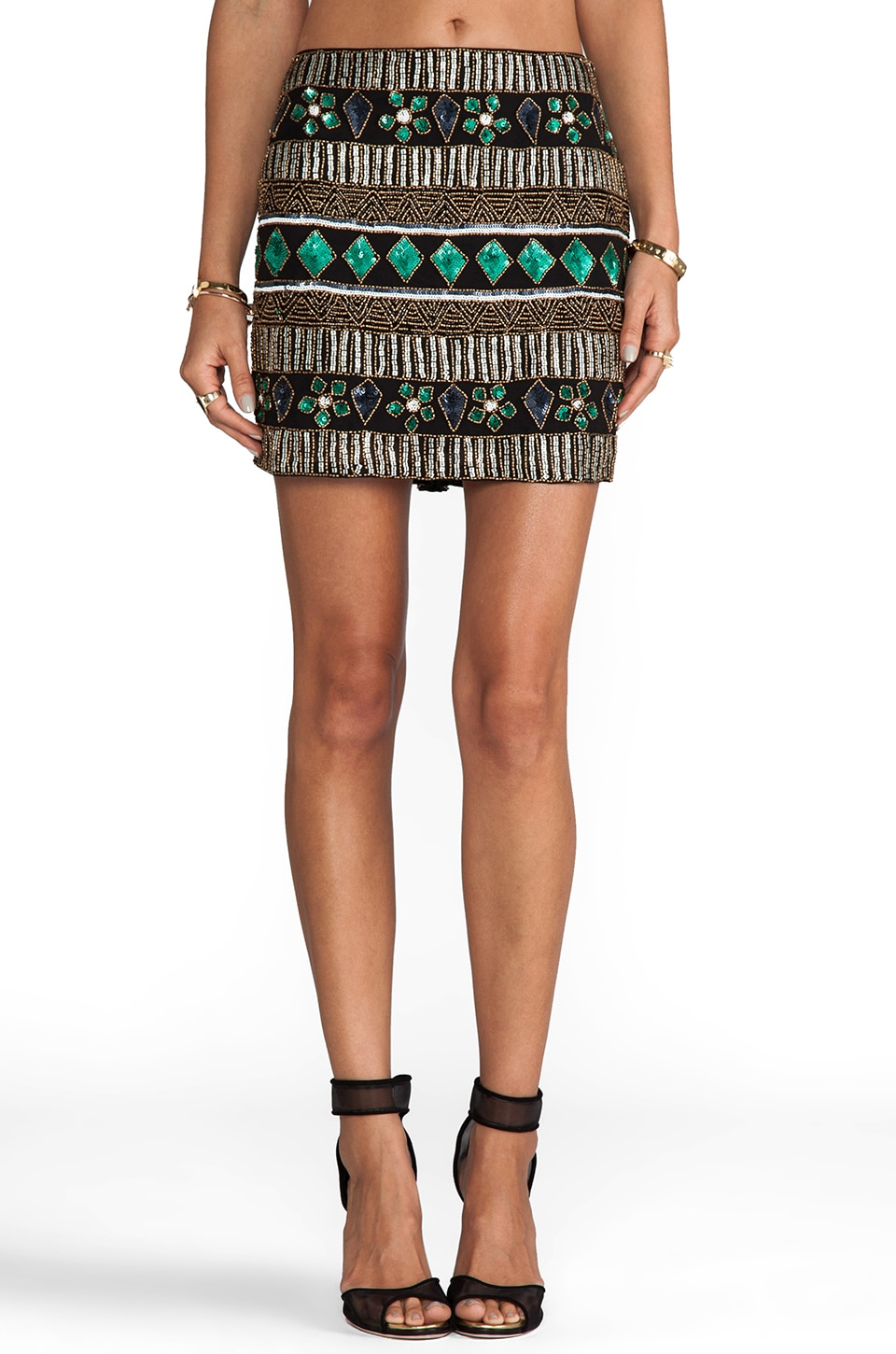 Yumi Kim Ana Skirt in Black/Green Mix