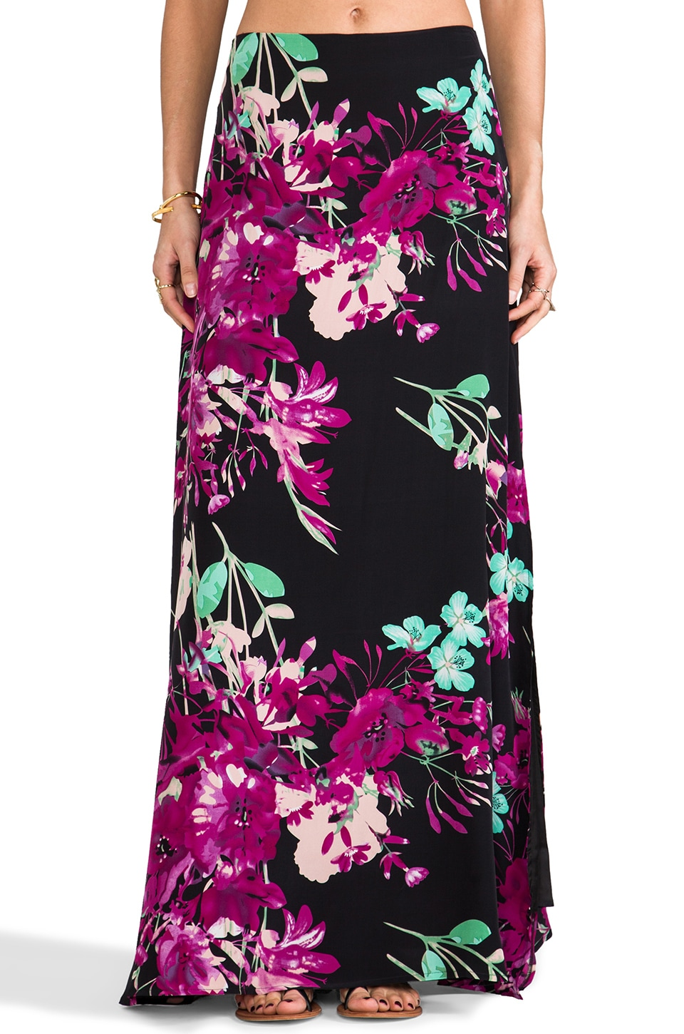 Yumi Kim Arial Maxi Skirt in Black Botanical