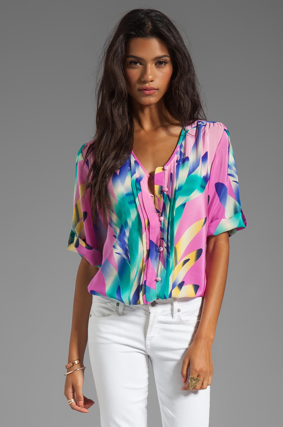 Yumi Kim Lizzie Top in Pink Feather