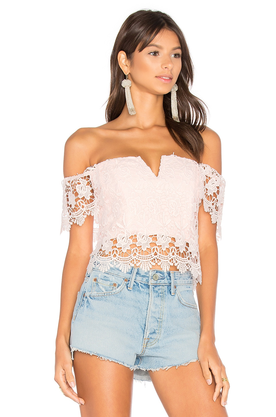 Yumi Kim Hot Stuff Crop Top in Blush Lace