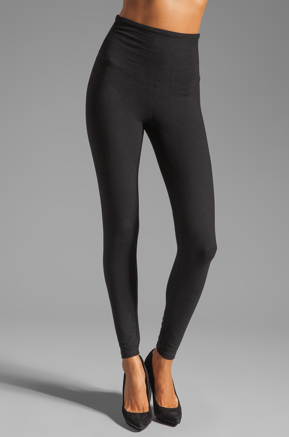 Yummie by Heather Thomson Rhiannon Compact Cotton Rib Legging in Black