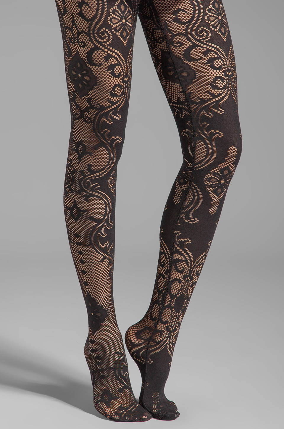 Yummie by Heather Thomson Bernadette Baroque Lace Legwear in Black