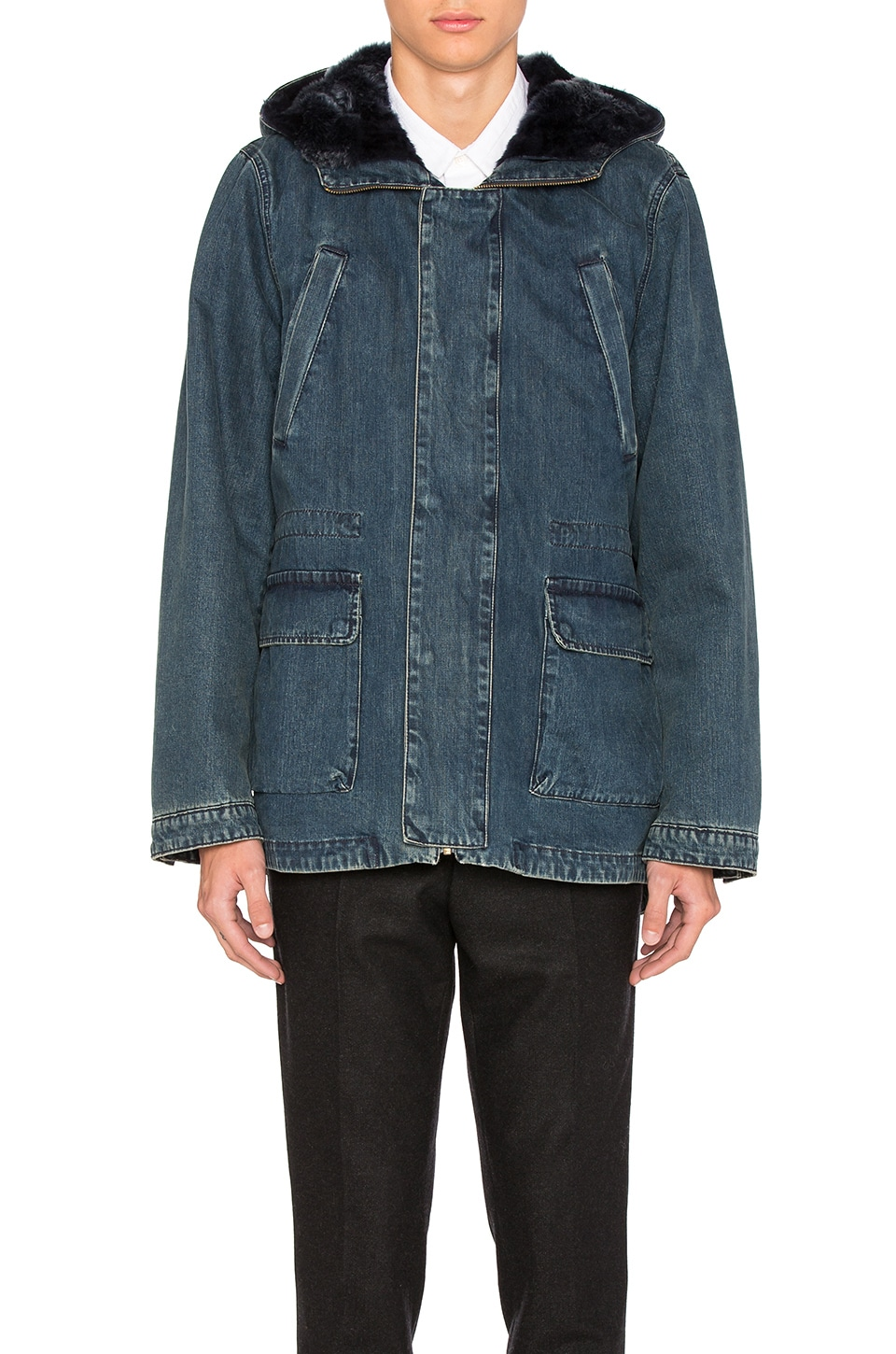 Denim Parka with Blue Lamb Fur by Yves Salomon