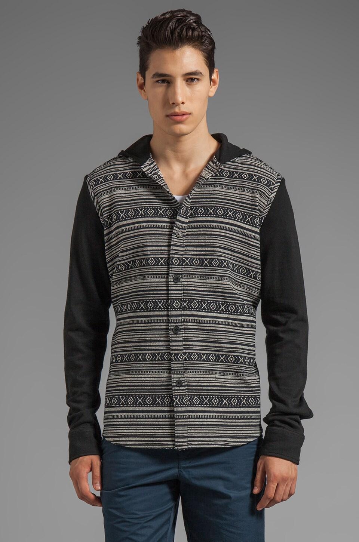 Z.A.K. Contrast Sleeve Aztec Hoodie in Black