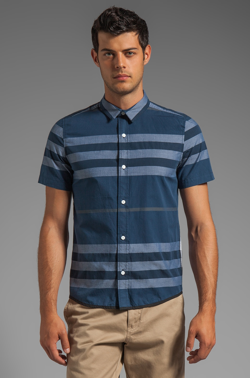 Z.A.K. Short Sleeve Plaid Shirt in Navy