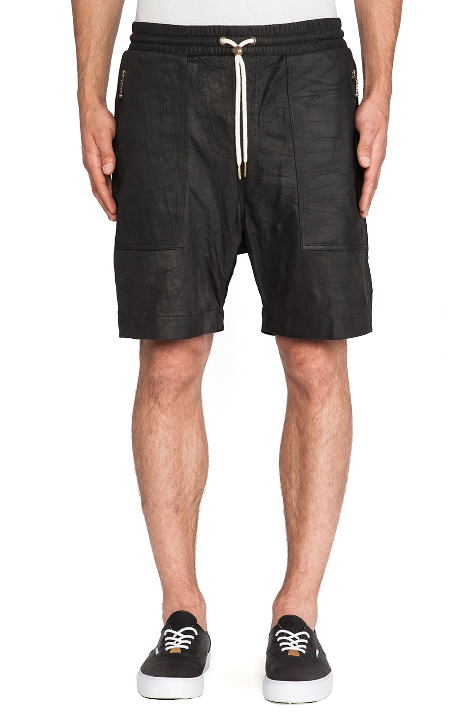 Zanerobe Gabe Leather Short in Black