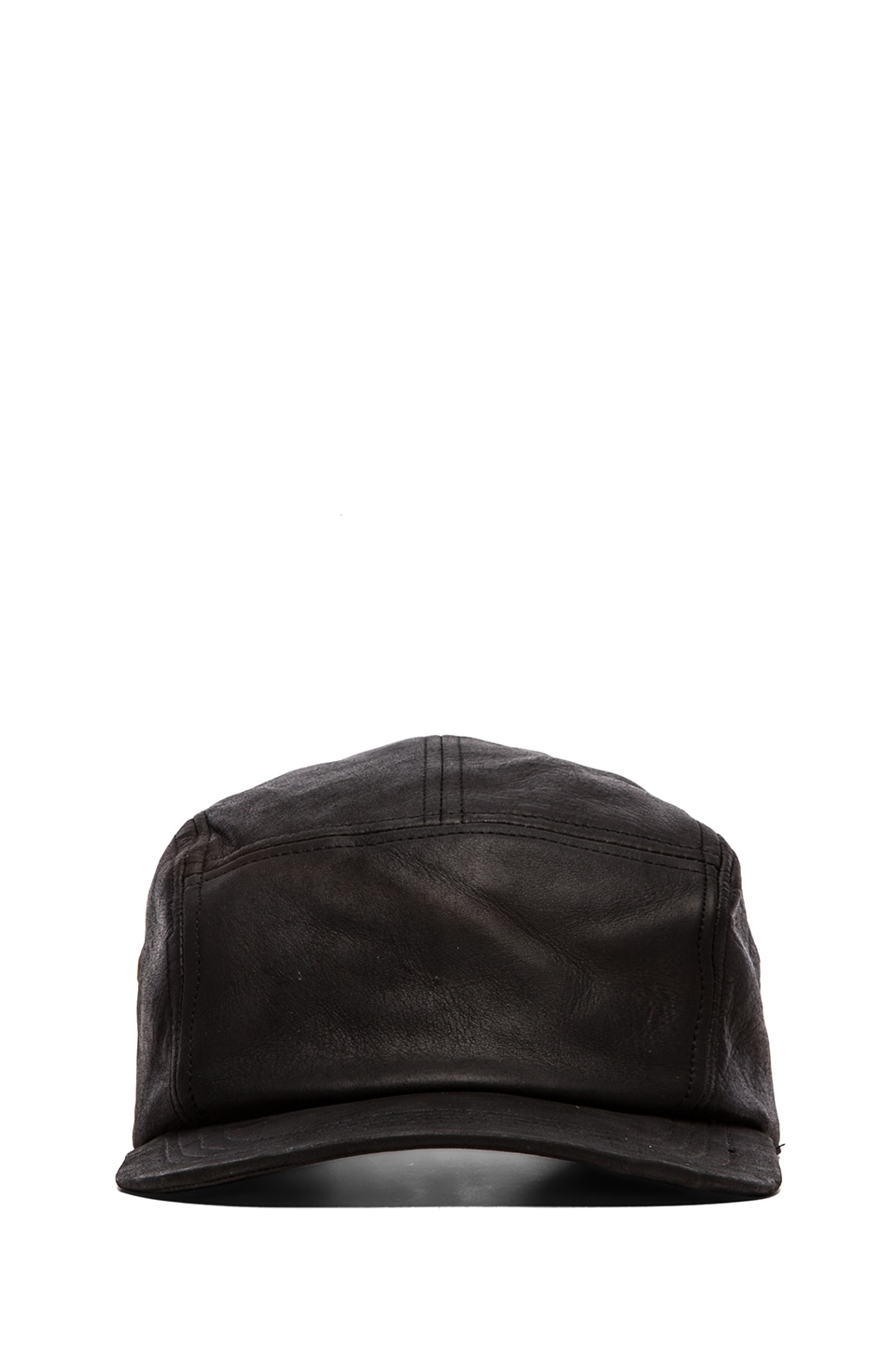 Zanerobe 5-Panel Leather Snapback in Black
