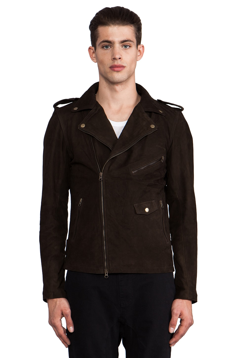 Zanerobe Crosstown Leather Jacket in Dark Nubuck