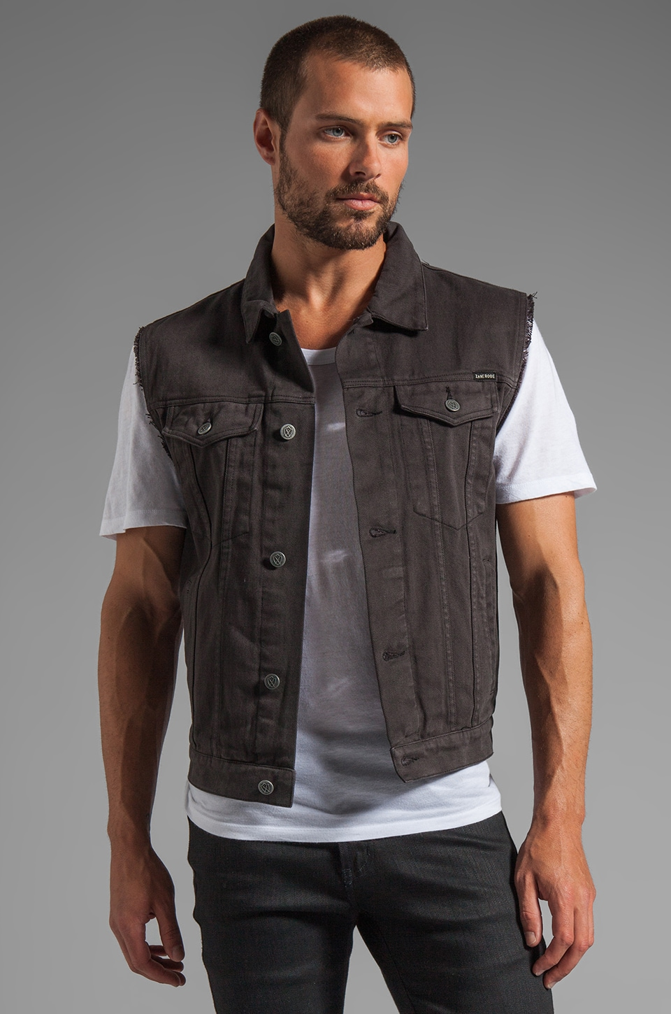 Zanerobe Wolfpack Denim Vest in Black