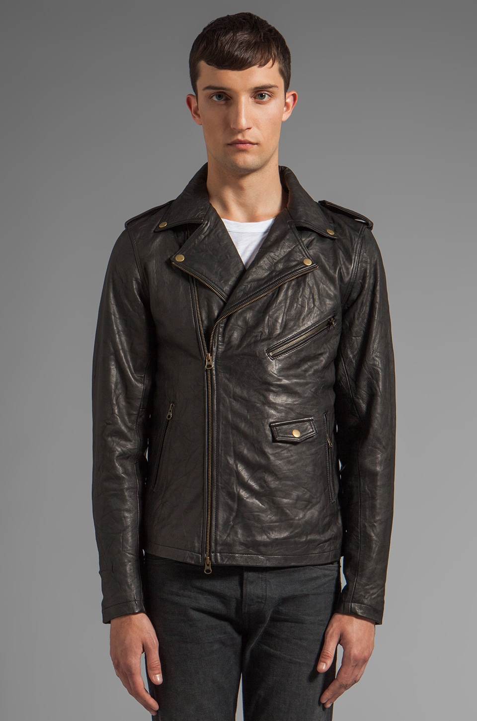 Zanerobe Crosstown Leather Jacket in Black