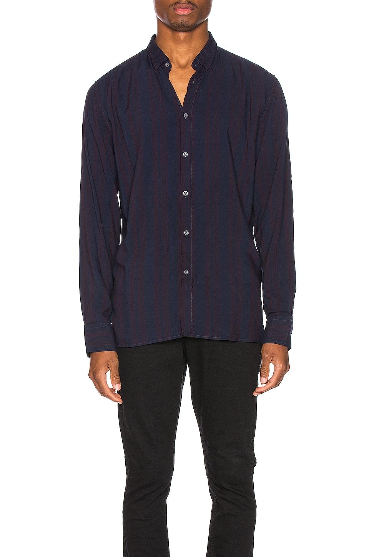 Zanerobe Stripe Rayon Long Sleeve Shirt in Navy & Port