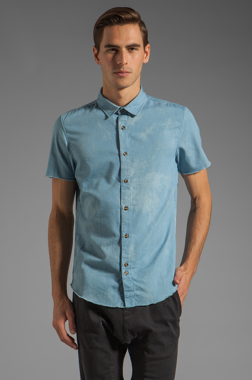 Zanerobe Cirrus Short Sleeve Shirt in Indigo