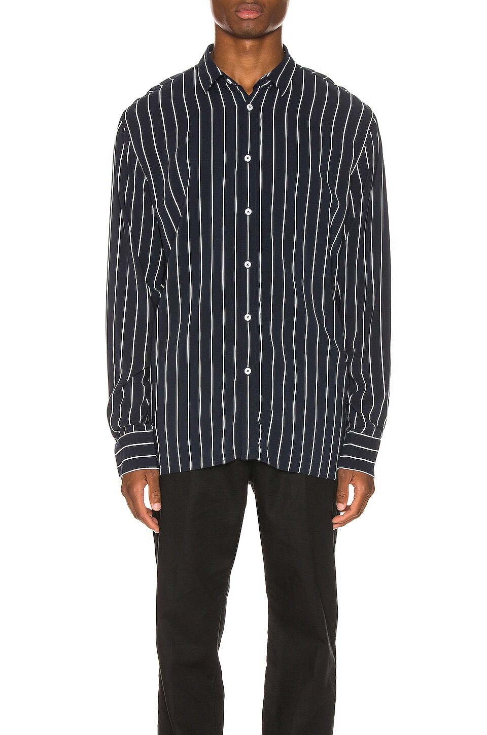 Zanerobe Pinstripe Long Sleeve Shirt in Ink & Milk