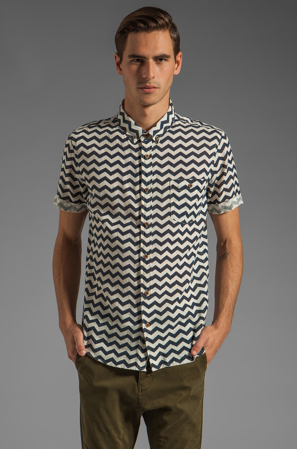 Zanerobe Bay Short Sleeve Shirt in Navy