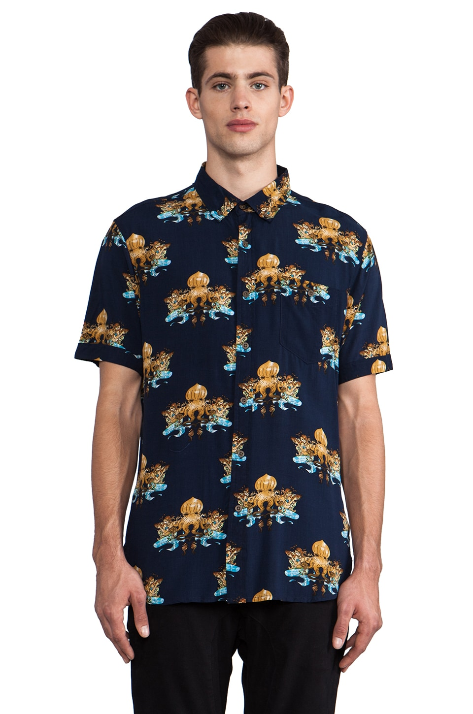 Zanerobe Atlantis Short Sleeve Button Down in Navy