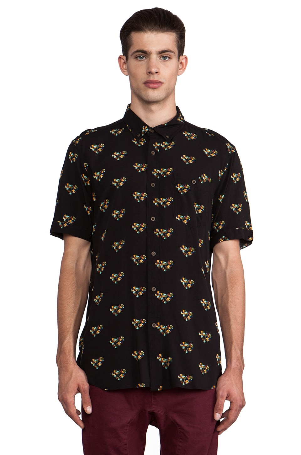 Zanerobe Non-Love Short Sleeve Button Down in Black