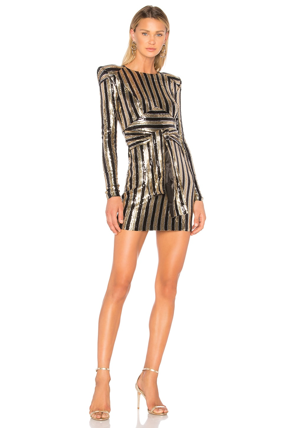 Zhivago Take That To The Bank Dress in Black & Gold Stripe