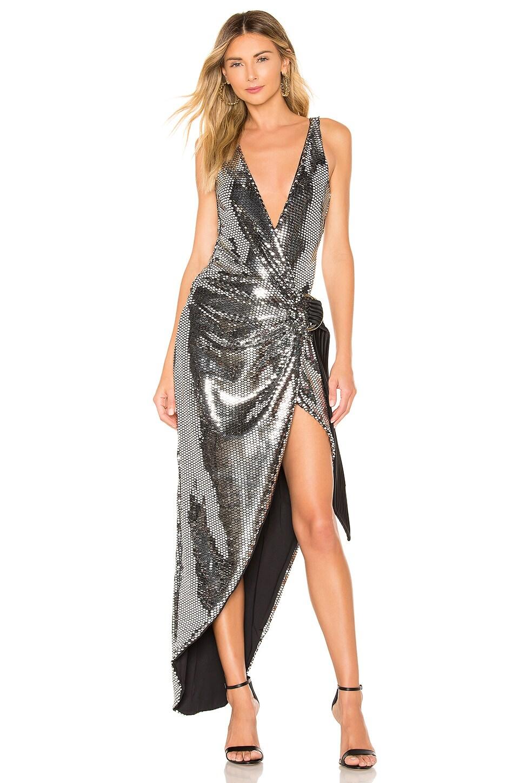 ZHIVAGO Wick Gown in Metallic Silver