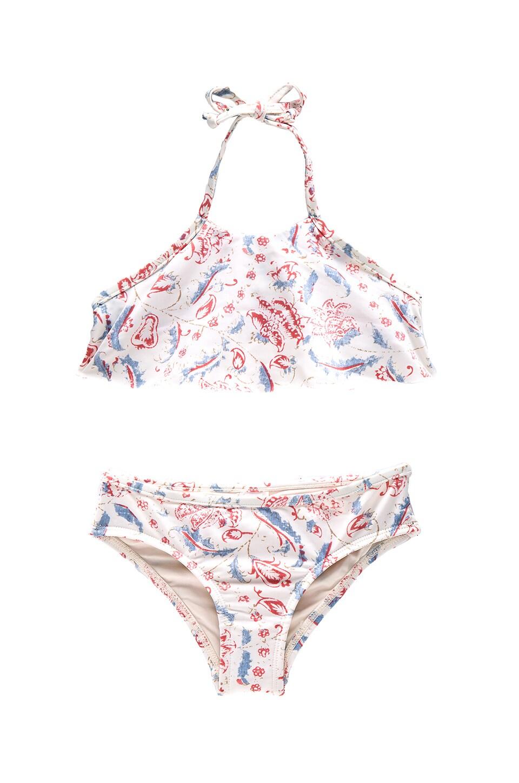 Zimmermann Zephyr Flare Halter Bikini Set in Floral