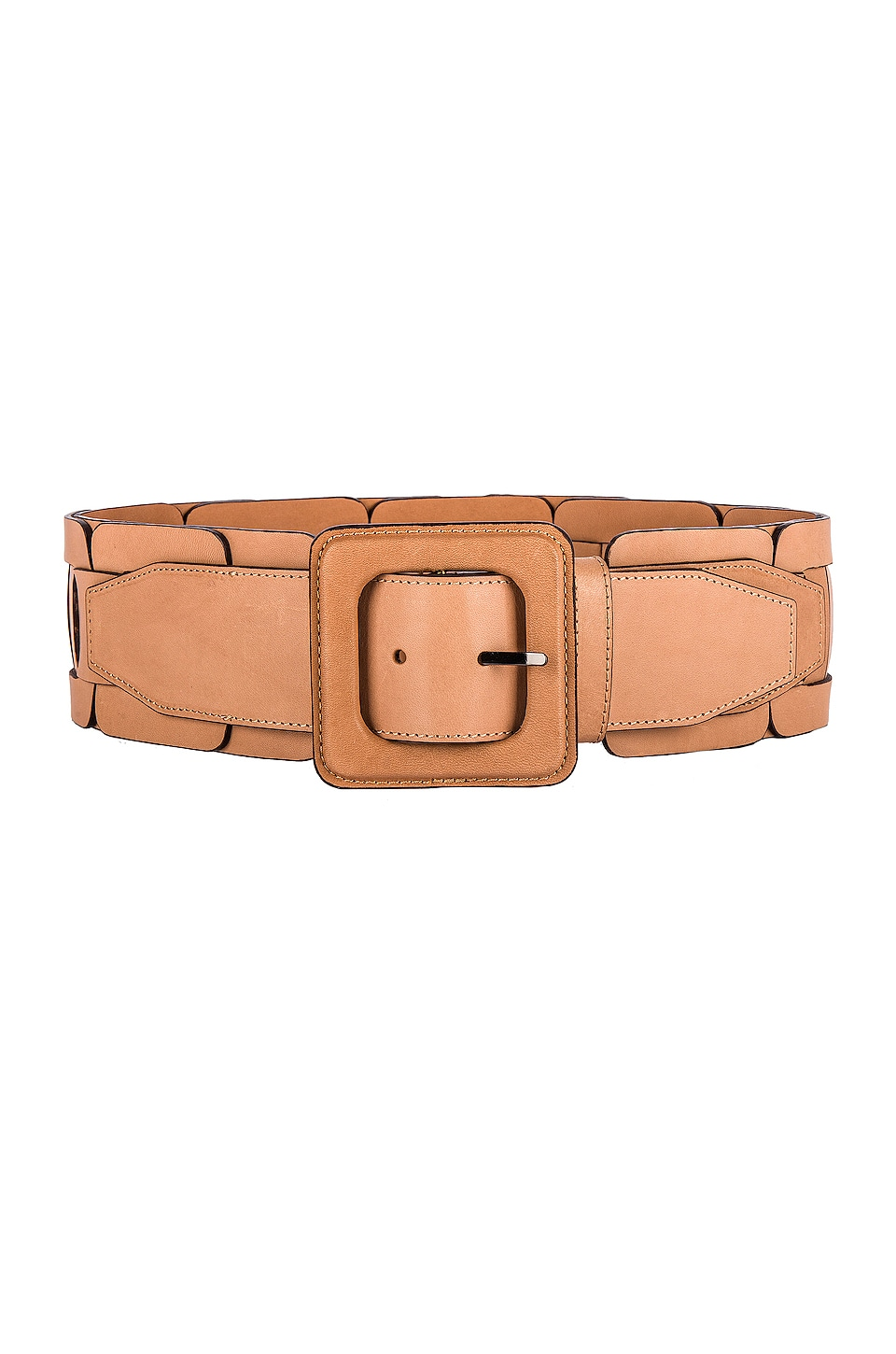 Zimmermann Square Link Wide Waist Belt in Saddle Tan