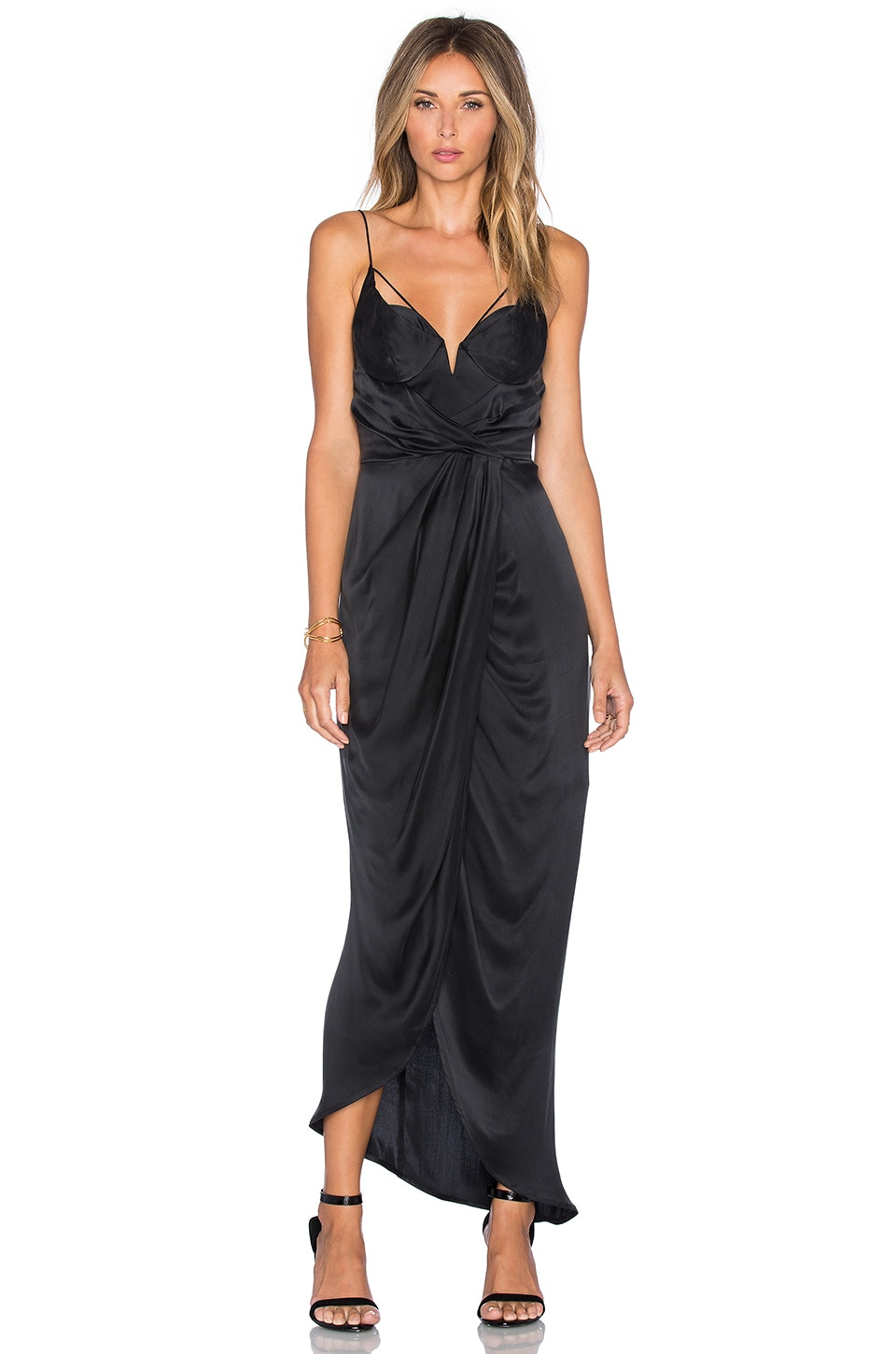 Zimmermann Sueded Balconette Long Dress in Black