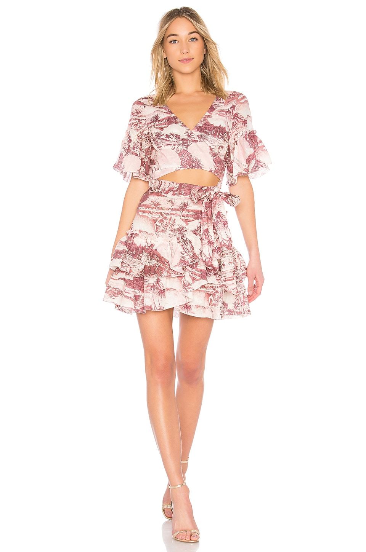 Zimmermann Short Sleeve Wrap Dress in Hawaiian Print