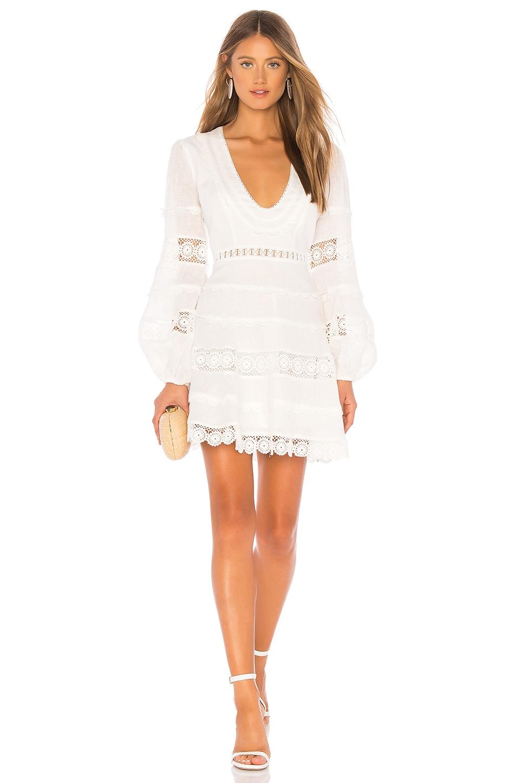 Castile Crochet-Trimmed Linen Dress in White