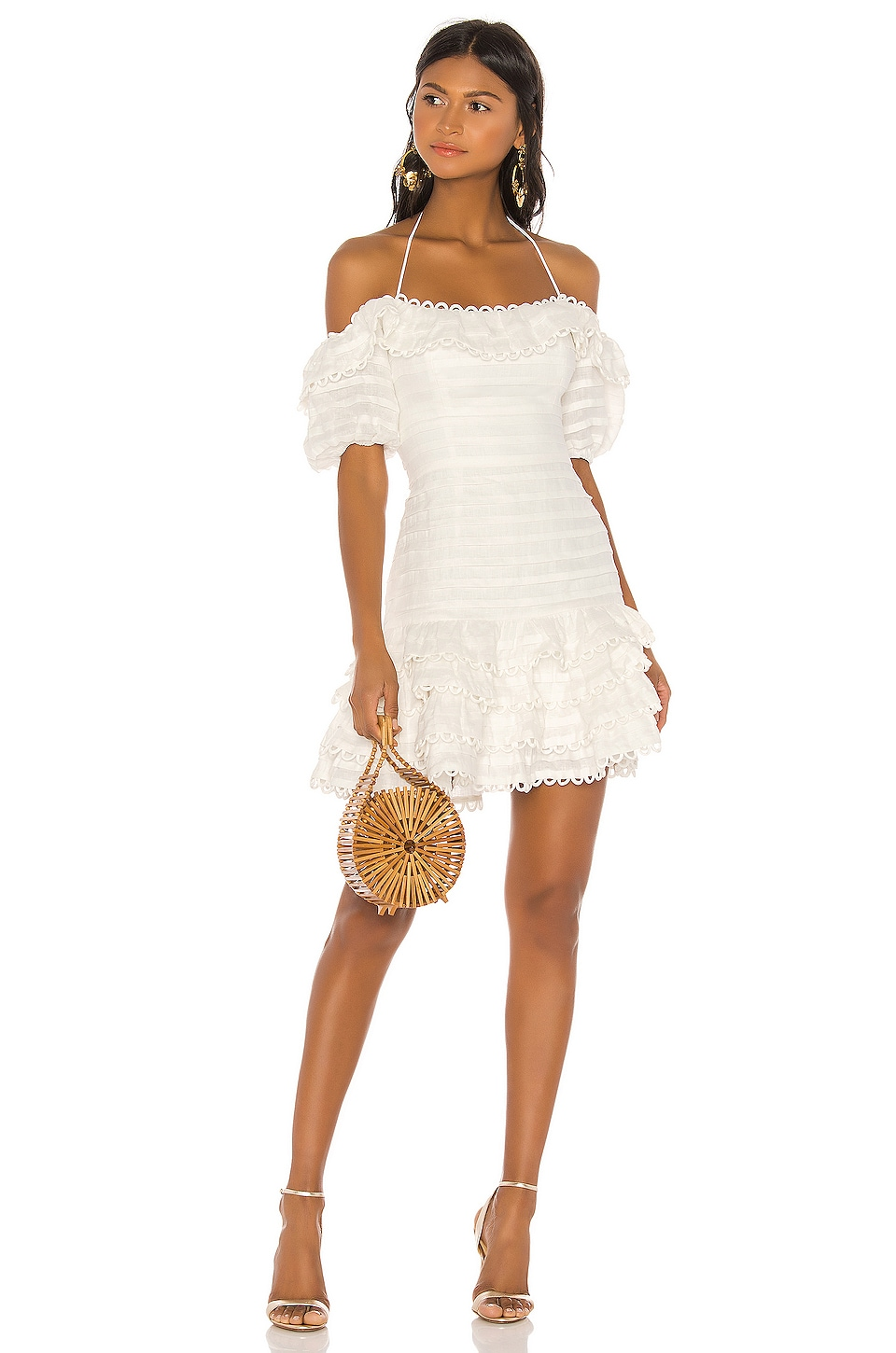 Zimmermann Allia Pintuck Short Dress in Ivory